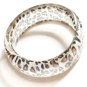 Acrylic Cheetah Print Bracelet Bangle Clear